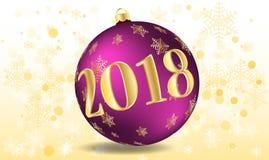 Διανυσματική απεικόνιση μιας καλής χρονιάς 2018 υπό μορφή πορφύρας σφαιρών Χριστουγέννων Στοκ φωτογραφία με δικαίωμα ελεύθερης χρήσης