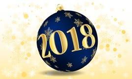 Διανυσματική απεικόνιση μιας καλής χρονιάς 2018 υπό μορφή πορφύρας σφαιρών Χριστουγέννων Στοκ φωτογραφίες με δικαίωμα ελεύθερης χρήσης