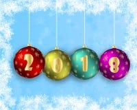 Διανυσματική απεικόνιση μιας καλής χρονιάς 2018 υπό μορφή σφαιρών Χριστουγέννων Όμορφα κοσμημένα υπόβαθρο στρώματα Μπορέστε να εί Στοκ φωτογραφία με δικαίωμα ελεύθερης χρήσης