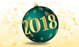 Διανυσματική απεικόνιση μιας καλής χρονιάς 2018 υπό μορφή σφαιρών Χριστουγέννων πράσινων Στοκ φωτογραφίες με δικαίωμα ελεύθερης χρήσης