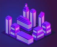 Διανυσματική απεικόνιση μιας καμμένος πόλης νέου νύχτας Πορφυρά και μπλε φω'τα φωτεινού και νέου πυράκτωσης Τοπίο πόλεων νέου απεικόνιση αποθεμάτων