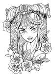 Διανυσματική απεικόνιση μιας πριγκήπισσας κοριτσιών και floral στοιχείων Στοκ φωτογραφία με δικαίωμα ελεύθερης χρήσης