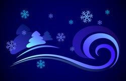 Διανυσματική απεικόνιση μιας χιονοθύελλας νύχτας Στοκ φωτογραφία με δικαίωμα ελεύθερης χρήσης