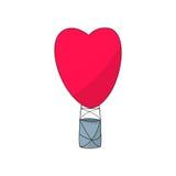 Διανυσματική απεικόνιση μορφής καρδιών μπαλονιών ζεστού αέρα Στοκ Εικόνες