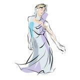 Διανυσματική απεικόνιση μουσικής γυναικών χορεύοντας Στοκ Εικόνες