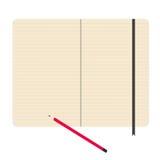 Διανυσματική απεικόνιση μολυβιών εγγράφου σημειωματάριων Στοκ Φωτογραφίες
