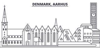 Διανυσματική απεικόνιση οριζόντων γραμμών της Δανίας, Ώρχους Δανία, γραμμική εικονική παράσταση πόλης του Ώρχους με τα διάσημα ορ απεικόνιση αποθεμάτων