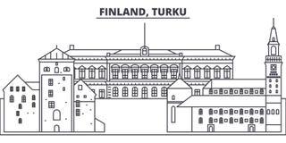 Διανυσματική απεικόνιση οριζόντων γραμμών της Φινλανδίας, Τουρκού Φινλανδία, γραμμική εικονική παράσταση πόλης του Τουρκού με τα  ελεύθερη απεικόνιση δικαιώματος