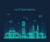 Διανυσματική απεικόνιση οριζόντων του Ahmedabad γραμμική Στοκ εικόνα με δικαίωμα ελεύθερης χρήσης
