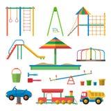 Διανυσματική απεικόνιση παιδικών χαρών παιδιών με τα αντικείμενα Τα παιδιά σχεδιάζουν τα στοιχεία και τα εικονίδια στο επίπεδο ύφ απεικόνιση αποθεμάτων