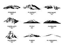 Διανυσματική απεικόνιση περιλήψεων των υψηλότερων βουνών των ηπείρων Στοκ Εικόνες
