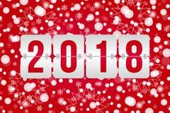 2018 διανυσματική απεικόνιση πινάκων βαθμολογίας καλής χρονιάς Κόκκινο άσπρο διακοσμητικό υπόβαθρο Χριστουγέννων με snowflakes, σ ελεύθερη απεικόνιση δικαιώματος