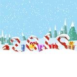 Διανυσματική απεικόνιση πινάκων χαιρετισμού Χριστουγέννων Δώρα και ψηφία στα πλαίσια του χιονισμένου επάνω δάσους ελεύθερη απεικόνιση δικαιώματος
