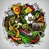 Διανυσματική απεικόνιση ποδοσφαίρου doodles κινούμενων σχεδίων Στοκ Φωτογραφίες