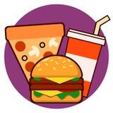 Διανυσματική απεικόνιση ποτών πιτσών εικονιδίων combo γρήγορου φαγητού hamburge Διανυσματική απεικόνιση