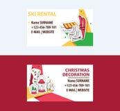 Διανυσματική απεικόνιση προτύπων επαγγελματικών καρτών διακοσμήσεων ενοικίου και Cristmas σκι Σκι, έλκηθρο, σαλάχια επαφή στοκ εικόνες με δικαίωμα ελεύθερης χρήσης