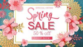 Διανυσματική απεικόνιση πώλησης άνοιξη Έμβλημα με τα άνθη κερασιών απεικόνιση αποθεμάτων