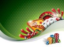 Διανυσματική απεικόνιση σε ένα θέμα χαρτοπαικτικών λεσχών με τα στοιχεία παιχνιδιού στο πράσινο υπόβαθρο Στοκ Εικόνες