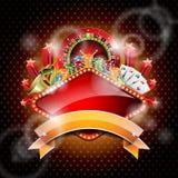 Διανυσματική απεικόνιση σε ένα θέμα χαρτοπαικτικών λεσχών με τη ρόδα και την κορδέλλα ρουλετών. Στοκ Εικόνες