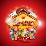 Διανυσματική απεικόνιση σε ένα θέμα χαρτοπαικτικών λεσχών με τα στοιχεία παιχνιδιού στο κόκκινο υπόβαθρο Στοκ Φωτογραφίες