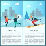 Διανυσματική απεικόνιση σκέιτερ και σκιέρ Wintertime ελεύθερη απεικόνιση δικαιώματος