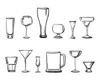 Διανυσματική απεικόνιση σκίτσων περιλήψεων συρμένη χέρι με τους διαφορετικούς τύπους καταναλώσεων των γυαλιών απεικόνιση αποθεμάτων