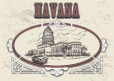 Διανυσματική απεικόνιση σκίτσων της Αβάνας συρμένη χέρι capitol Αβάνα απεικόνιση αποθεμάτων