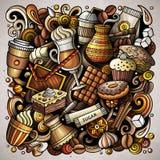 Διανυσματική απεικόνιση σπιτιών καφέ doodles κινούμενων σχεδίων Στοκ Εικόνες