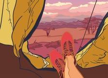 Διανυσματική απεικόνιση στη φύση θεμάτων της Αφρικής, σαφάρι, ηλιοβασίλεμα στη σαβάνα, κυνήγι, στρατοπέδευση, ταξίδι Αθλητισμός,  Στοκ Φωτογραφία