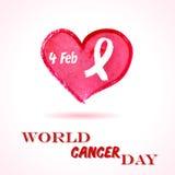 Διανυσματική απεικόνιση στις 4 Φεβρουαρίου ημέρας παγκόσμιου καρκίνου της καρδιάς watercolor με την κόκκινη κορδέλλα σύμβολο για  Στοκ Εικόνα