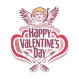 Διανυσματική απεικόνιση στο θέμα της ημέρας του βαλεντίνου με Cupidon Στοκ Εικόνες