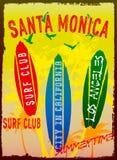 Διανυσματική απεικόνιση στο θέμα της κυματωγής και της λέσχης Σάντα Μόνικα κυματωγών ελεύθερη απεικόνιση δικαιώματος