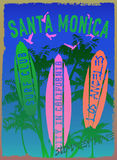 Διανυσματική απεικόνιση στο θέμα της κυματωγής και της λέσχης Santa Mon κυματωγών απεικόνιση αποθεμάτων