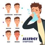 Διανυσματική απεικόνιση συμπτωμάτων αλλεργίας - ιατρικός infographic κινούμενων σχεδίων απεικόνιση αποθεμάτων