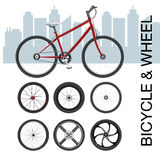 Διανυσματική απεικόνιση συνόλου ροδών ποδηλάτων Στοκ φωτογραφία με δικαίωμα ελεύθερης χρήσης