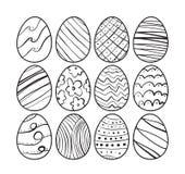 Διανυσματική απεικόνιση: Συρμένα χέρι αυγά Πάσχας Σχέδιο γραμμών σκίτσων doodle διανυσματική απεικόνιση