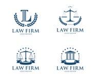 Διανυσματική απεικόνιση σχεδίου λογότυπων για τη σταθερή επιχείρηση νόμου, πληρεξούσιος, συνήγορος, δικαιοσύνη δικαστηρίων απεικόνιση αποθεμάτων