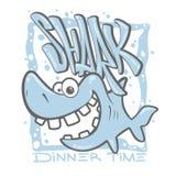 Διανυσματική απεικόνιση σχεδίου τυπωμένων υλών μπλουζών καρχαριών κινούμενων σχεδίων Στοκ φωτογραφίες με δικαίωμα ελεύθερης χρήσης