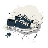 Διανυσματική απεικόνιση σχεδίων με τα πάνινα παπούτσια Στοκ φωτογραφία με δικαίωμα ελεύθερης χρήσης