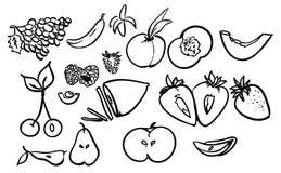 Διανυσματική απεικόνιση σχεδίων φρούτων καθορισμένη συρμένη χέρι Στοκ Εικόνες