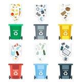 Διανυσματική απεικόνιση, σύνολο επίπεδων συμβόλων λογότυπων Στοιχεία απορριμάτων ανακύκλωσης Ταξινόμηση και επεξεργασία των απορρ Στοκ Εικόνες