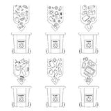 Διανυσματική απεικόνιση, σύνολο επίπεδων συμβόλων λογότυπων Στοιχεία απορριμάτων ανακύκλωσης Ταξινόμηση και επεξεργασία των απορρ Στοκ φωτογραφία με δικαίωμα ελεύθερης χρήσης