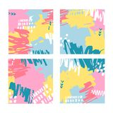 Διανυσματική απεικόνιση, σύνολο συρμένων χέρι αφηρημένων υποβάθρων με το λεκέ χρωμάτων Απεικόνιση αποθεμάτων