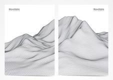 Διανυσματική απεικόνιση: Σύνολο σχεδιαγράμματος δύο αφισών με το τοπίο βουνών wireframe Στοκ φωτογραφίες με δικαίωμα ελεύθερης χρήσης