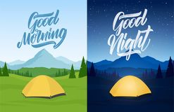 Διανυσματική απεικόνιση: Σύνολο τοπίου δύο βουνών με το στρατόπεδο σκηνών, χεριών της καλημέρας και της καληνύχτας ελεύθερη απεικόνιση δικαιώματος