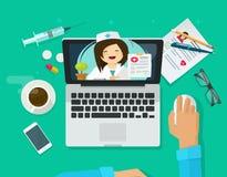 Διανυσματική απεικόνιση τηλεϊατρικής, επίπεδος γιατρός στη σε απευθείας σύνδεση, μακρινές διάγνωση lap-top υπολογιστών και τη θερ απεικόνιση αποθεμάτων