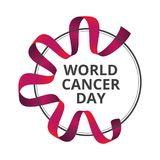 Διανυσματική απεικόνιση την 4η Φεβρουαρίου - ημέρα παγκόσμιου καρκίνου με την κόκκινη κορδέλλα συνειδητοποίησης που απομονώνεται  στοκ εικόνες
