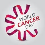Διανυσματική απεικόνιση την 4η Φεβρουαρίου - ημέρα παγκόσμιου καρκίνου με την κόκκινα κορδέλλα και το κείμενο συνειδητοποίησης στοκ εικόνες με δικαίωμα ελεύθερης χρήσης