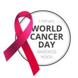 Διανυσματική απεικόνιση την 4η Φεβρουαρίου - ημέρα παγκόσμιου καρκίνου με την κόκκινη κορδέλλα συνειδητοποίησης που απομονώνεται  στοκ φωτογραφία με δικαίωμα ελεύθερης χρήσης