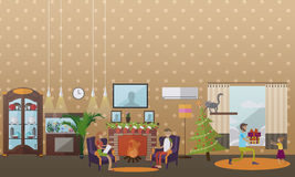 Διανυσματική απεικόνιση της άνετης εστίας με τις διακοσμήσεις Χριστουγέννων, επίπεδο ύφος διανυσματική απεικόνιση